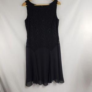 Alex Evenings Black Beaded Cocktail Dress